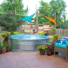 How Much Does a Stock Tank Pool Cost — Mid Modern Mama Diy Swimming Pool, Diy Pool, Kiddie Pool, Pool Toys And Floats, Build Your Own Pool, Pool Cost, Stock Tank Pool, Pool Liners, Pool Chemicals