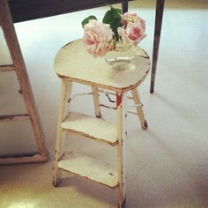 Antique stools make perfect side tables <3