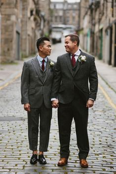 Grooms in Grey Wedding Suits for Multicultural Wedding | By Thomas Stewart | Same-sex Wedding | Outdoor Ceremony | Multicultural Wedding | Groom and Groom | Edinburgh Wedding | Scotland Wedding | Wedding Suits
