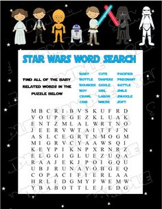 Star Wars Baby Shower Games Starwars Word By Greenmelonstudios