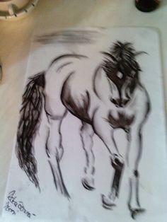 ",, charcoal horse """