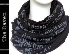 The Raven poem on a scarf