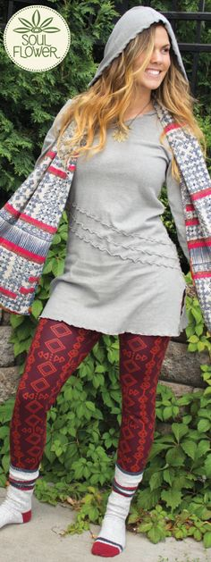 Rolling Stone #Hemp Tunic paired with the Landslide Patch Scarf and tribal print leggings #soulflower