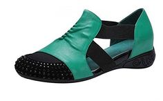 FanselaTM Womens Rhinestone Colorant PU Leather Breathable Mesh Flats Shoes Size 8 Green >>> Check out the image by visiting the affiliate link Amazon.com on image.