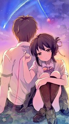 Anime picture kimi no na wa miyamizu mitsuha tachibana taki mitsuki ponzu tall image blush looking at viewer short hair black hair brown eyes signed payot ahoge full body head tilt from behind couple arm support sparkle crossed legs 514239 en Film Manga, Film Anime, Manga Anime, Anime Love Couple, Cute Anime Couples, Anime Kawaii, Anime Cosplay, Mitsuha And Taki, Kimi No Na Wa Wallpaper