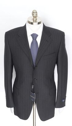 Perfect in pinstripes, this Canali charcoal suit is a study in sophistication.  |  Find yours! http://www.frieschskys.com/suits  |  #frieschskys #mensfashion #fashion #mensstyle #style #moda #menswear #dapper #stylish #MadeInItaly #Italy #couture #highfashion #designer #shopping