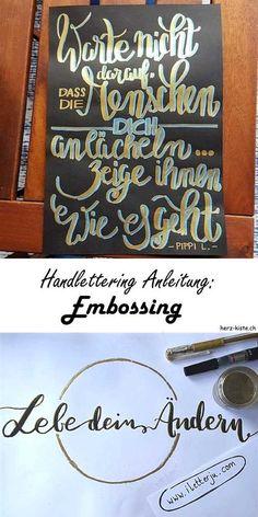 Bei dieser Handlettering Anleitung erfährst du ganz einfach, wie das Embossing (mit Pulver und Föhn) beim Lettern funktioniert.