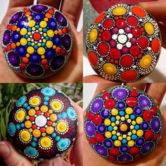 #fourofakind #mandalastones #rockcollection #stoned #artwork #paintedrocks #paintedpebbles #acrylicpaint #deco #kaleidoscope #happydots #christmas #holiday #colorful #dotart #inspired #mandala #gift #keepsake #treasures ❤️