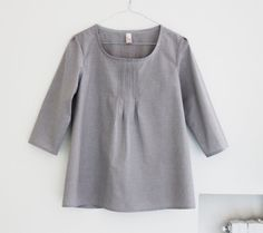 Pleated women blouse, japanese fashion cotton pleated shirt. Chambray gray, tan polka dots and gray polka dots. Sizes US 2, 4, 6, 8. on Etsy, $60.25