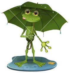 Frog with a green umbrella vector 1149810 - by bruhov on VectorStock®