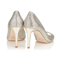 Champagne Glitter Fabric Peep Toe Pumps EVELYN 85 (627,300 KRW) via Polyvore featuring shoes, pumps, off white shoes, champagne glitter pumps, glitter peep toe pumps, glitter pumps and vintage white shoes