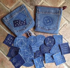 potholder/recycle/Sashiko/denim/old jeans potholder/recycle/Sashiko/denim/old jeansYou can find Jeans and more on our website.potholder/recycle/Sashiko/denim/old jeans po. Jean Crafts, Denim Crafts, Sashiko Embroidery, Japanese Embroidery, Embroidery On Denim, Fabric Crafts, Sewing Crafts, Sewing Projects, Upcycled Crafts