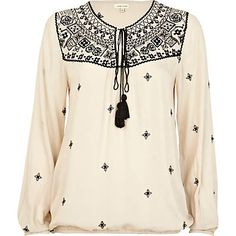 Beige contrast embroidered tassel blouse - blouses - blouses / shirts - women
