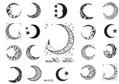 Sun, Star and Moon Tattoo Designs with meaning for on wrist, back, finger or behind the ear. Small full or half moon tattoo designs for Guys and Girls. Future Tattoos, Love Tattoos, Beautiful Tattoos, Body Art Tattoos, Small Tattoos, Tatoos, Beautiful Moon, Moon Star Tattoo, Half Moon Tattoo