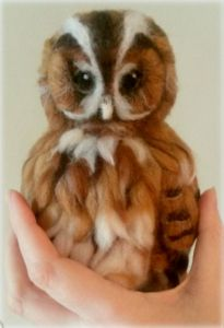 Beautiful Tawny Owl tutorial. Detailed step by step photo tutorial for needle felting an owl. To inspire or follow. By Amanda Adebisi of Fit to be loved