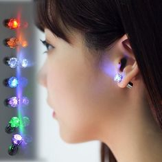 Light Up LED earrings Studs Flashing Blinking Stainless Steel Earrings Studs Dance Party Accessories unisex for Men Women 1 Pair