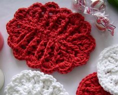 Red Crochet Soap Dish with Scallops in Cotton by customcrochet, $4.25 USD