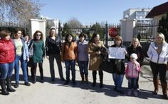 PHOTO: Relatives of Ukrainian troops in Lyubimovka, SW of Simferopol March 3. Placard reads &quot