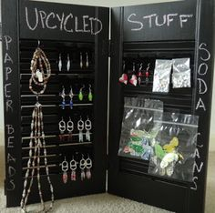 Small shutters turned upcycled tabletop jewelry display Chalkboard is nice touch too.