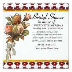 Tastefully Bridal Shower Red Flower Invitation Cards