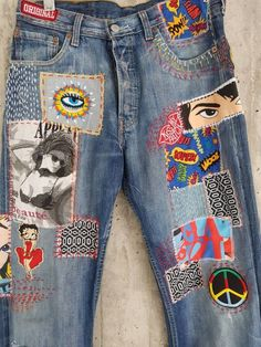Painted Jeans, Painted Clothes, Hand Painted, Vintage Levis, Mode Vintage, Diy Clothing, Custom Clothes, Levis Jeans, Diy Jeans