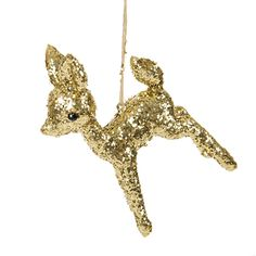 Give Christmas a kitsch makeover with this deer Christmas tree decoration from Cody Foster & Co. In the shape of a charming deer, this ornament is made from resin and is a fabulous addition to this year's Christmas tree. In a gold glitter finish, it will infuse your Christmas collection with a dash of sparkle.