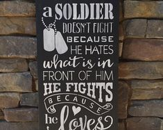 A sodier doesn't fight sign, military sign, military decor, wall art, subway style sign, a soldier sign, military patriotic sign