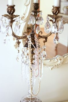 Chandelier & pearls...