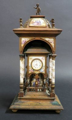 Buy online, view images and see past prices for Large Viennese Enamel Figural Clock. Invaluable is the world's largest marketplace for art, antiques, and collectibles. Mantel Clocks, Old Clocks, Antique Clocks, Clock Painting, Clock Shop, Retro Clock, Flooring Sale, Letter Holder, Bronze