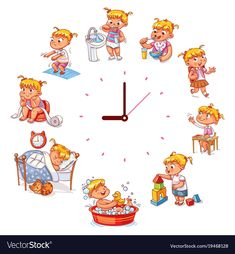Daily routine with simple watches Vector set with baby girl Funny cartoon character Vector illustrat Funny Cartoons For Kids, Funny Cartoon Characters, Cartoon Kids, Baby Cartoon, Simple Watches, Girl Humor, Funny Babies, Cartoon Drawings, Kindergarten