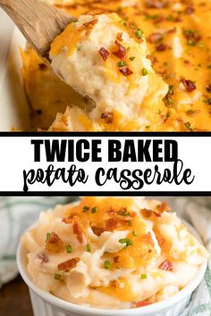 Twice Baked Potato Casserole - Easy, delicious comfort food your family will love! This is a lick your plate clean kind of recipe. food recipes casseroles Twice Baked Potato Casserole Best Salad Recipes, Easy Healthy Recipes, Easy Dinner Recipes, Vegetarian Recipes, Cooking Recipes, Easy Comfort Food Recipes, Skillet Recipes, Potluck Recipes, Pizza Recipes