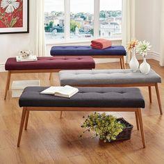 MID-CENTURY LIVING Sasha Oak Angled Leg Linen Bench - 18738979 - Overstock.com Shopping - Great Deals on Mid-Century Living Benches