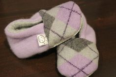 Lavender Argyle Baby Booties Lightweight Upcycled Cashmere