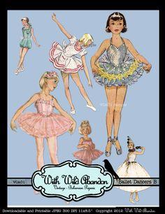 Vintage Ballet Dancers... You get 3 sheets!