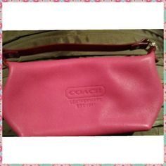 Just reduced: Genuine leather Coach baguette Cutesy Authentic hot pink Coach mini handbag. This baguette may be small but it has lots of room. Perfect for the person who doesn't prefer to carry big purses. New, no tags.   Yep, this is bag #two (bought one off another site and  I'm keeping the one I bought on Posh for myself)  Reduced 7/3/16 Coach Bags Mini Bags