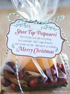 Stove Top Potpourri recipe with free printable. Perfect Christmas gift for neighbors. - lizoncall.com