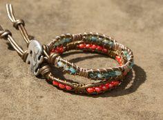 Coral leather wrap bracelet, macrame inspired boho chic, hipster, lucky elephant charm, bohemian rustic, single layer bracelet