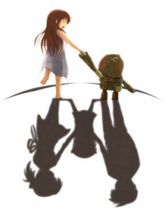 That is exactly how I related the two worlds, after all, Ushio is the girl with the robot