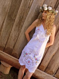 Madame Susha's Recycled Relics... halter dress made from tablecloth...