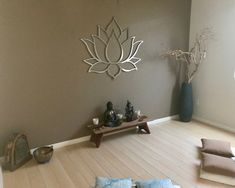 Beautiful lotus wall decor for a meditation roomYou can find Metal wall art and more on our website.Beautiful lotus wall decor for a meditation room Modern Metal Wall Art, Outdoor Metal Wall Art, Large Metal Wall Art, Metal Art, Metal Flower Wall Art, Painting Metal, Meditation Room Decor, Meditation Corner, Meditation Space