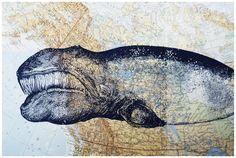 Siebdruck - Siebdruck WAL auf großer Landkarte   von thegreykat via DaWanda.com