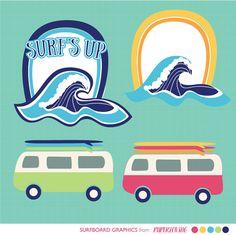 Surf Beach Clipart: Instant download by PaperLovingShop on Etsy;  surfboards, waves, surf vans