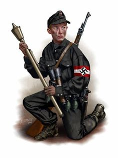 Hitlerjugend 1945. E' armato con un Panzerfaust e granate M-39 e Stielhandgranate 24. Johnny Shumate