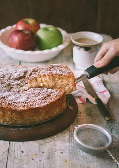 This simple apple cake makes a homey dessert.  Eight inch or nine inch springform pan.  Several lovely variation ideas are suggested.