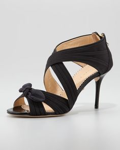 Patricia Crisscross Bow Sandal, Black by Charlotte Olympia at Neiman Marcus.