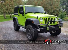 """Check out the progress of this sweet jeep build from our store in London, ON! Installed so far is: Smittybilt Front and rear Bumpers Enthuze light pods and LED headlight bulbs ReadyLift Suspension Inc. SST 2.5"""" COIL LIFT KIT WEATHERTECH FLOOR LINERS AVS VENT VISORS #ProfessionalGradeInstallation"""