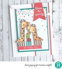 Card by Diane Jaquay. Reverse Confetti stamp sets: Lift Me Up and Celebrations (sentiment). Confetti Cuts: Edge Essentials, Lift Me Up, Linked Garland and Stitched Flag Trio. Birthday card. Birthday invite. Celebration cart.
