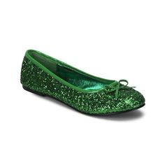 New Green Glitter Tinkerbell Flat Costume Shoes Bow Shoes, Slip On Shoes, Me Too Shoes, Flat Shoes, Bow Flats, Shoes Heels, St Patrick's Day Costumes, Green Costumes, Halloween Costumes