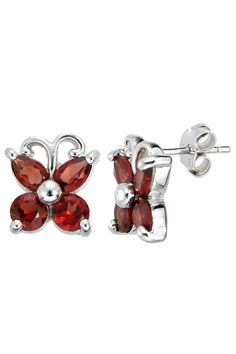 1.7ct Garnet Butterfly Earrings In Sterling Silver