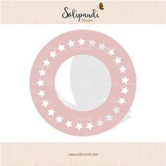 Circle monogram frame  stars  SVG Cut Files   by SolipandiDesigns